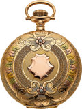 Timepieces:Pocket (post 1900), Elgin Mint 14k Multicolor Gold 16 Size Hunters Case, circa...