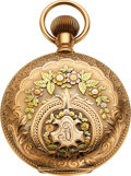 Timepieces:Pocket (pre 1900) , Waltham Choice 14k Multicolor Gold 18 Size 21 Jewel Model ...