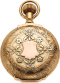 Timepieces:Pocket (pre 1900) , Elgin, 14k Multicolor Gold Box Hinge 18 Size Hunter, circa...