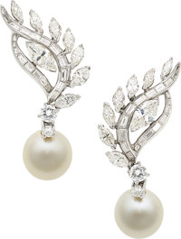 Diamond, South Sea Cultured Pearl, Platinum Earrings