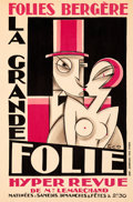 "Movie Posters:Miscellaneous, La Grande Folie Hyper Revue at Folies Bergère (1927). Very Fine+ on Linen. French Theater Poster (13.75"" X 20.75"") Maurice ""..."