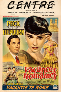 """Roman Holiday (Paramount, 1953). Fine+ on Linen. Trimmed Belgian (14.5"""" X 21.5"""")"""