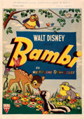 Movie Posters:Animation, Bambi (RKO, 1947). Fine+ on Linen. First Release T...