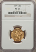 1879-S $5 MS61 NGC. NGC Census: (74/83). PCGS Population: (59/115). CDN: $461.23.Whsle. Bid for NGC/PCGS MS61. Mintage 4...