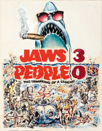 """Jaws 3, People 0 (Universal, 1979). Very Fine-. Original Mixed Media Concept Artwork on Illustration Board (21.5"""" X..."""