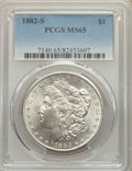 Morgan Dollars, 1882-S $1 MS65 PCGS. PCGS Population: (19658/6469). NGC Census: (19638/8543). MS65. Mintage 9,250,000. ...
