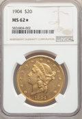Liberty Double Eagles: , 1904 $20 MS62★ NGC. NGC Census: (75486/128259 and 53/202*). PCGS Population: (63709/107704 and 53/202*). MS62. Minta...