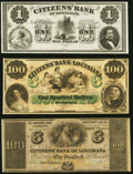 Obsoletes By State:Louisiana, New Orleans, LA- Citizens' Bank of Louisiana $1; $100; $100 18__Very Fine or Better.. ... (Total: 3 notes)
