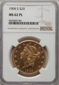 Liberty Double Eagles: , 1904-S $20 MS62 Prooflike NGC. NGC Census: (53/32). MS62. Mintage 5,134,175. ...