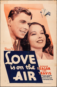 "Love is on the Air (Warner Bros., 1937). Fine- on European Linen. One Sheet (27"" X 41""). Romance"