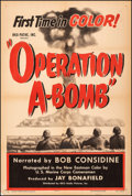 """Movie Posters:Short Subject, Operation A-Bomb (RKO, 1952). Fine+ on Linen. One Sheet (27.25"""" X 41""""). Short Subject.. ..."""