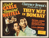 "They Met in Bombay (MGM, 1941). Very Fine+. Title Lobby Card (11"" X 14""). Adventure"