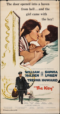 "The Key (Columbia, 1958). Folded, Fine. Three Sheet (41"" X 78""). Romance"