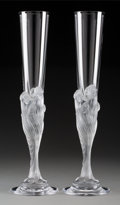 Glass, A Pair of Erté Majestique Glass Champagne Flutes, circa 1980. Marks: Erté, France. 29-1/2 x 8-1/4 inches (74... (Total: 2 Items)