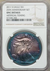 (2)2011-S $1 Silver Eagle, 25th Anniversary Set -- Artificial Toning -- NGC Details. Unc