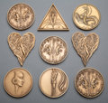 Collectible, A Group of Nine Erté Bronze Medallions with Signed Limited Edition Erté at Ninety-Five Book in Original Case, ci... (Total: 10 Items)