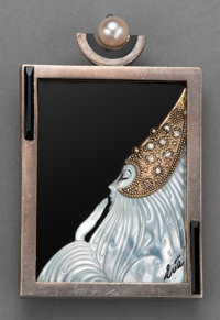 An Erté Beloved Silver, Onyx, Mother of Pearl, 14K Gold, and Diamond Brooch, circa 1