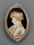 Jewelry, An Erté 14K Gold, Silver, Onyx, and Diamond Brooch, circa 1980. Marks: Erté, ©CFA, 14K, STERLING. 2-1/4 x 1-1/2 x 1/4 in...