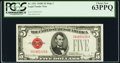 Small Size:Legal Tender Notes, Fr. 1531 $5 1928F Wide I Legal Tender Note. PCGS Choice New 63PPQ.. ...