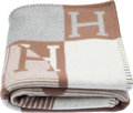 "Luxury Accessories:Home, Hermès Gris & Beige Eches et Trames Blanket. Condition: 1. 53"" Width x 67"" Length. ..."