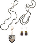 Luxury Accessories:Accessories, Chanel Set of Four: Silver Beaded Necklace, Silver Beaded Belt, Perfume Bottle Earrings & Black Crest Keychain. ...