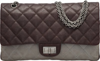 Chanel Brown Quilted Caviar Leather & Gray Quilted Lambskin Leather 2.55 Reissue - 277 Bag with Gunmetal Hardware Co...