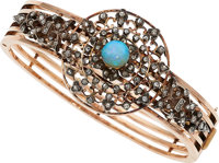 Antique Opal, Diamond, Rose Gold, Silver-Topped Gold Bracelet, French