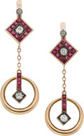 Estate Jewelry:Earrings, Ruby, Diamond, Rose Gold, Silver-Topped Gold Earrings, Russian. ...