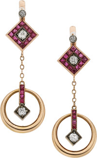 Ruby, Diamond, Rose Gold, Silver-Topped Gold Earrings, Russian