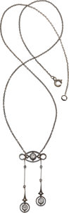 Estate Jewelry:Necklaces, Antique Diamond, Silver-Topped Gold Necklace. ...