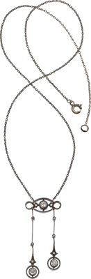 Antique Diamond, Silver-Topped Gold Necklace