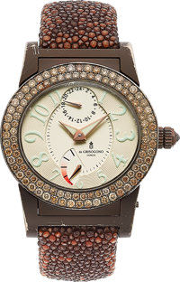De Grisogono Lady's Instrumento Tondo Colored Diamond, Gold Watch