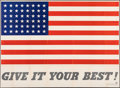 """Movie Posters:War, World War II Propaganda (U.S. Government Printing Office, 1942). Folded, Very Fine-. Poster (58"""" X 42"""") """"Give It Your Best.""""..."""