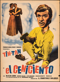 "El Ceniciento (Mier Y Brooks, 1952). Rolled, Fine-. Mexican One Sheet (27"" X 63.5"") Renan Artwork. Foreign..."