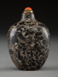Carvings, A Chinese Pudding Stone Snuff Bottle, Qing Dynasty, 19th century. 2-1/2 x 1-3/4 x 1-1/4 inches (6.4 x 4.4 x 3.2 cm). ...