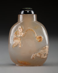 A Chinese Silhouette Agate Snuff Bottle Depicting Liu Hai, Qing Dynasty, 19th century 2-5/8 x 1-7/8 x 1 inches (6