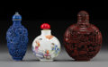 Carvings, Three Chinese Snuff Bottles, Qing Dynasty, 19th century. Marks to smallest: (two-character mark). 3-1/2 x 2-5/8 x 1-1/4 inch... (Total: 3 Items)