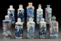 Carvings, A Group of Ten Chinese Blue and White Porcelain Snuff Bottles, Qing Dynasty, 19th century. 3-5/8 x 1-1/2 inches (9.2 x 3.7 c... (Total: 10 Items)