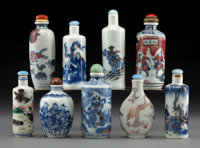 A Group of Nine Chinese Blue and White Porcelain Snuff Bottles, Qing Dynasty Marks to tallest: Six-character Qianl