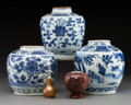 Ceramics & Porcelain, A Group of Three Chinese Blue and White Porcelain Jars, late Ming Dynasty . Marks to one jar: (pictorial mark). 7-1/4 inches... (Total: 5 Items)