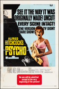 """Movie Posters:Hitchcock, Psycho (Paramount, R-1969). Folded, Very Good+. One Sheet (27"""" X 41""""). Hitchcock.. ..."""