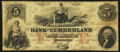 Obsoletes By State:Maryland, Portland, ME- Bank of Cumberland $5 Jan. 1, 1853 Fine.. ...