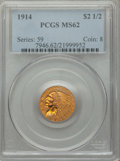 1914 $2 1/2 MS62 PCGS. PCGS Population: (1141/1227). NGC Census: (2356/1300). CDN: $950 Whsle. Bid for NGC/PCGS MS62. Mi...