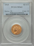 Indian Quarter Eagles: , 1915 $2 1/2 MS62 PCGS. PCGS Population: (1885/2564). NGC Census: (3816/3152). MS62. Mintage 606,000. ...