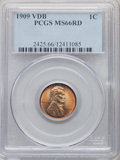 Lincoln Cents, 1909 1C VDB MS66 Red PCGS. PCGS Population: (2648/311). NGC Census: (1343/91). CDN: $275 Whsle. Bid for problem-free NGC/PC...