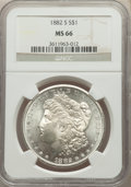 Morgan Dollars, 1882-S $1 MS66 NGC. NGC Census: (6656/1888). PCGS Population: (5317/1148). MS66. Mintage 9,250,000. ...