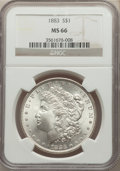 1883 $1 MS66 NGC. NGC Census: (820/136). PCGS Population: (1095/150). CDN: $380 Whsle. Bid for problem-free NGC/PCGS MS6...