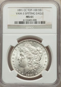 1891-CC $1 Spitting Eagle, VAM-3, MS61 NGC. A Top 100 Variety. NGC Census: (531/2998). PCGS Population: (24/464). MS61...