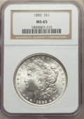 1885 $1 MS65 NGC. NGC Census: (10817/1999). PCGS Population: (9518/1767). MS65. Mintage 17,787,768. ...(PCGS# 7158)