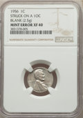 Errors, 1956 1C Lincoln Cent -- Struck on a 10C Blank -- XF40 NGC. (2.5 grams)....